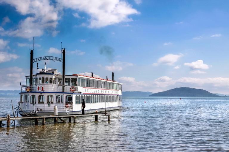 Paddle steamer on Lake Rotorua, North Island, New Zealand