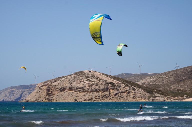 Kitesurfer on Prasonisi beach, Rhodes, Dodecanese, Greece