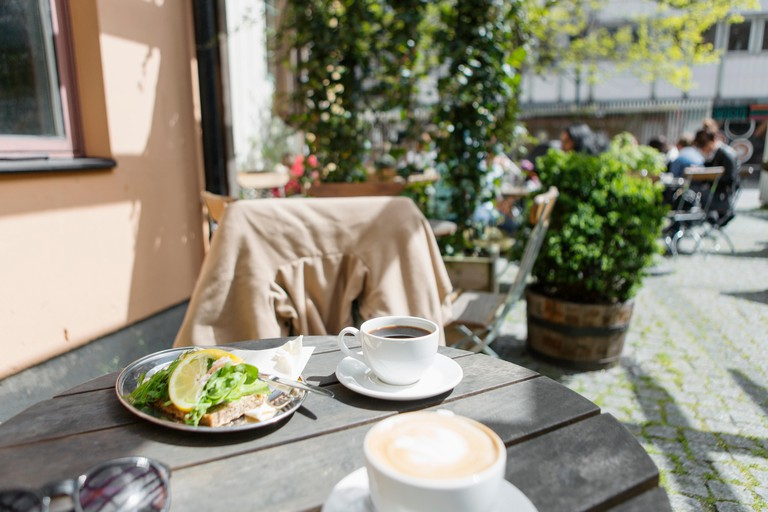 Food and coffee served at cafe in Sweden