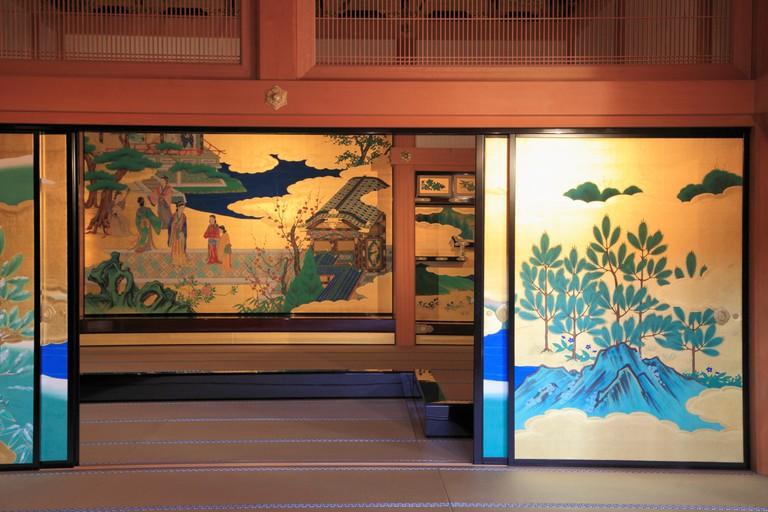 Painted screens inside Kumamoto Castle