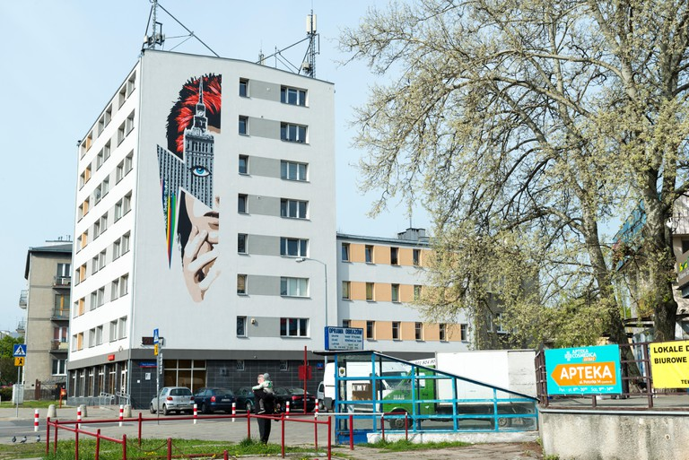 A mural portraying the late UK rock star David Bowie, Warsaw, Poland, Europe
