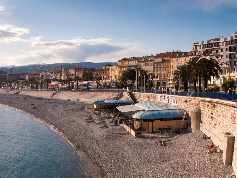 Beachfront in Nice featuring Castel Plage restaurant, Cote d'Azur, France, Europe