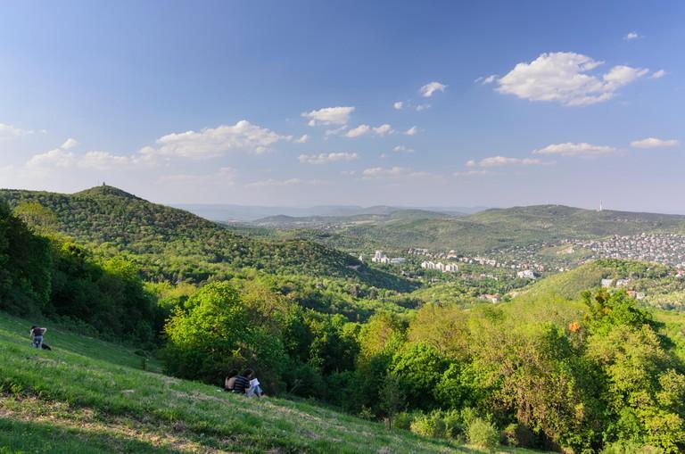 Budapest: Buda hills overlooking Budapest and Janos - hegy ( John's Hill, left), Hungary, Budapest,
