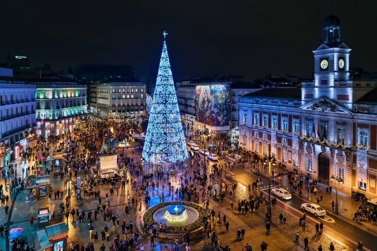 Christmas tree in Puerta del Sol, Madrid, Spain
