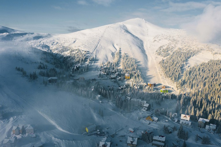 Scenic aerial view of Carpathian mountains  in winter