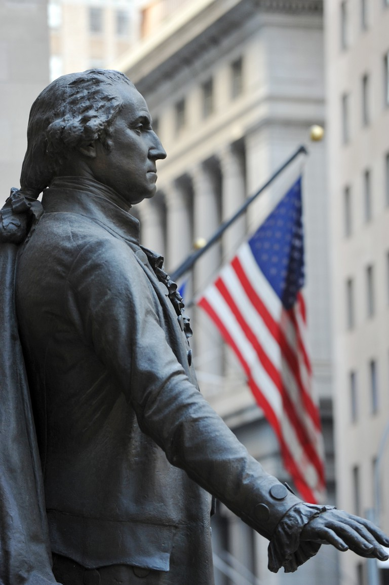 statue of George Washington in front of Federal Hall, New York City.