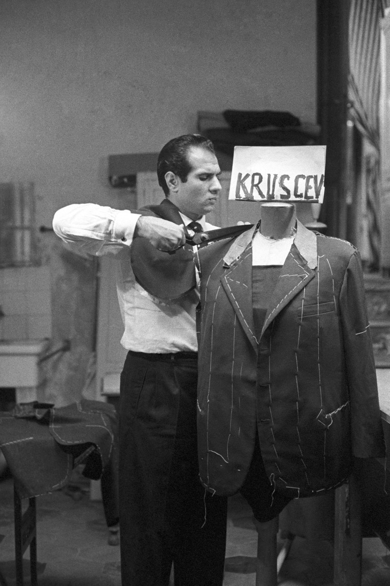 Angelo Litrico sewing a jacket for Nikita Khrushchev
