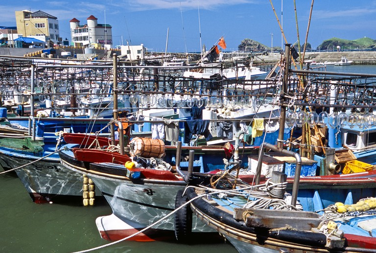 Fishing boats with lights for squid fishing in Jeju