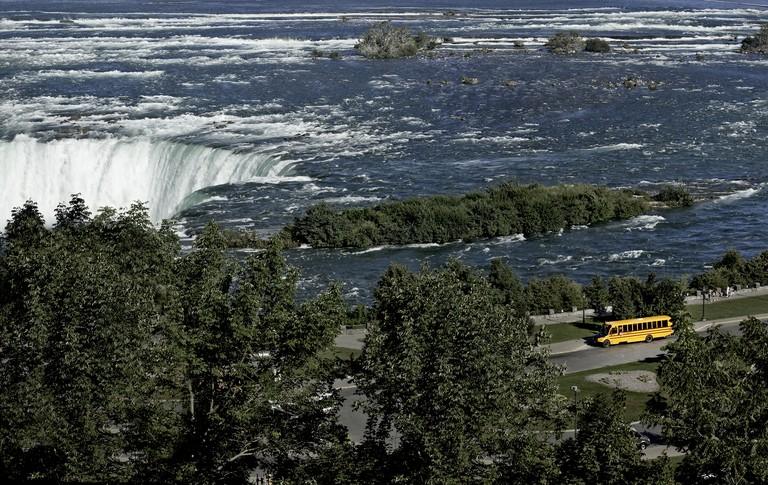 Yellow School Bus at Niagara Falls