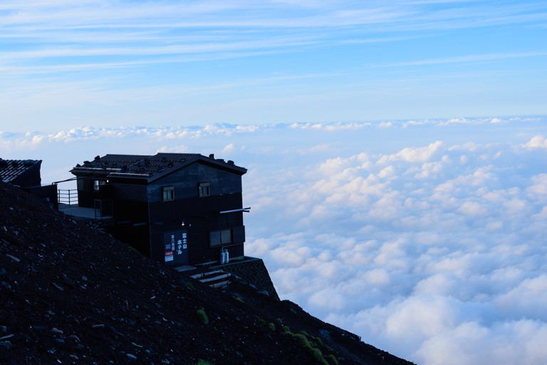 Field of clouds and mountain hut at Mt.Fuji