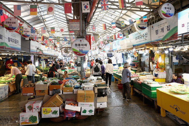 View of the Dongmun Market in Jeju, South Korea.