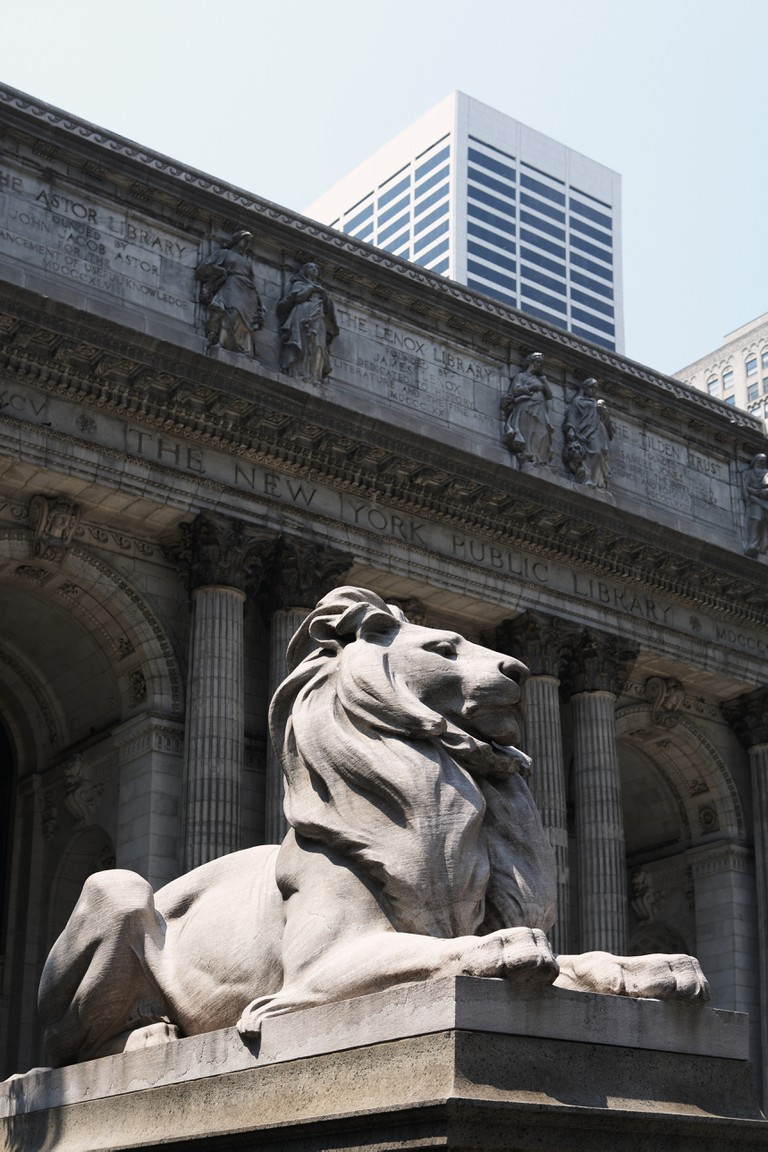 Lion statue outside New York Public Library