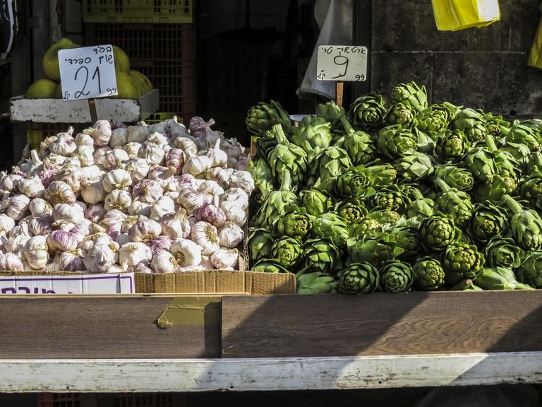 Artichokes and garlic in the Machane Yehuda Market in Jerusalem