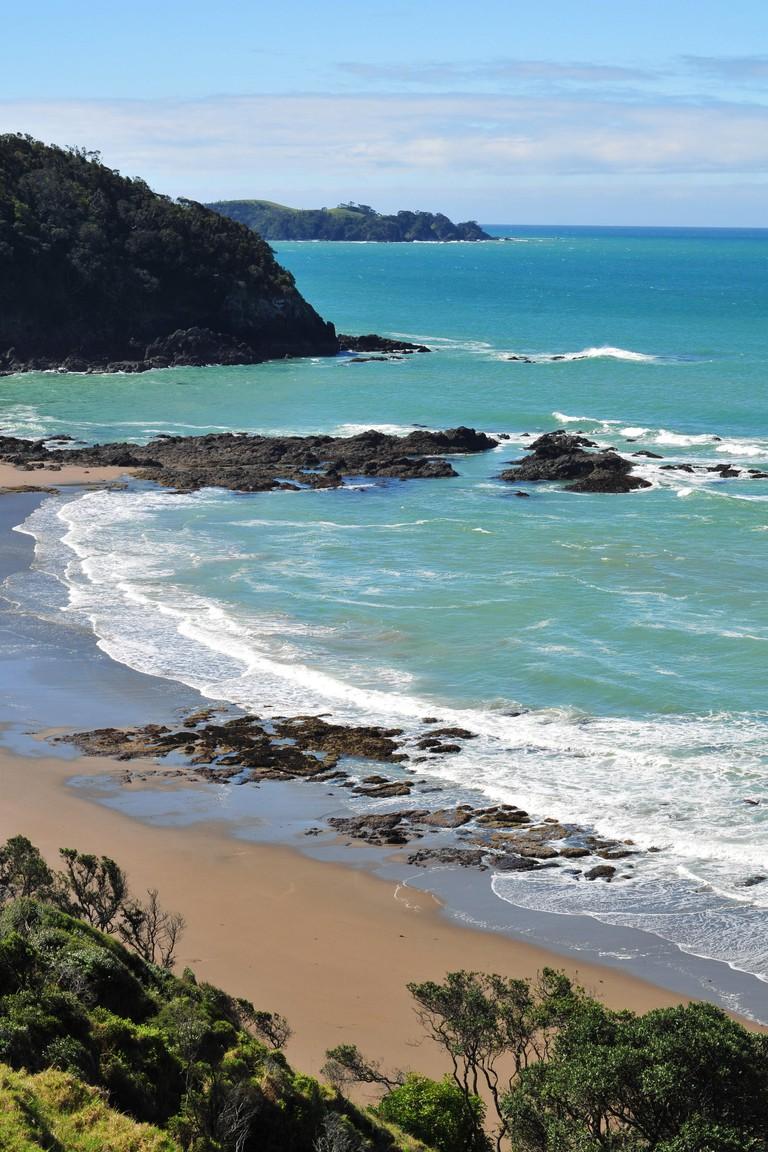 NZ coast rocky cliff beach ocean