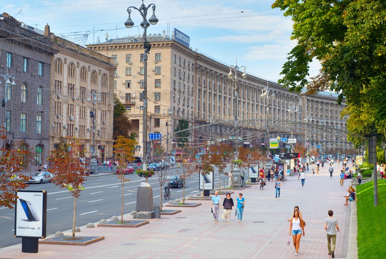 People walking on the Khreschatyc street. Khreshchatyk is the main street of Kiev, Ukraine