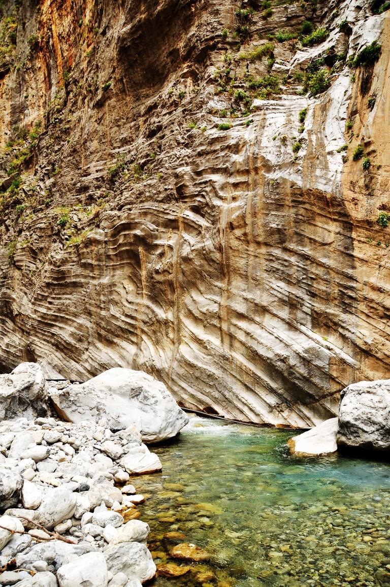 Clear waters of the Samaria Stream, Samaria Gorge, Crete, Greece