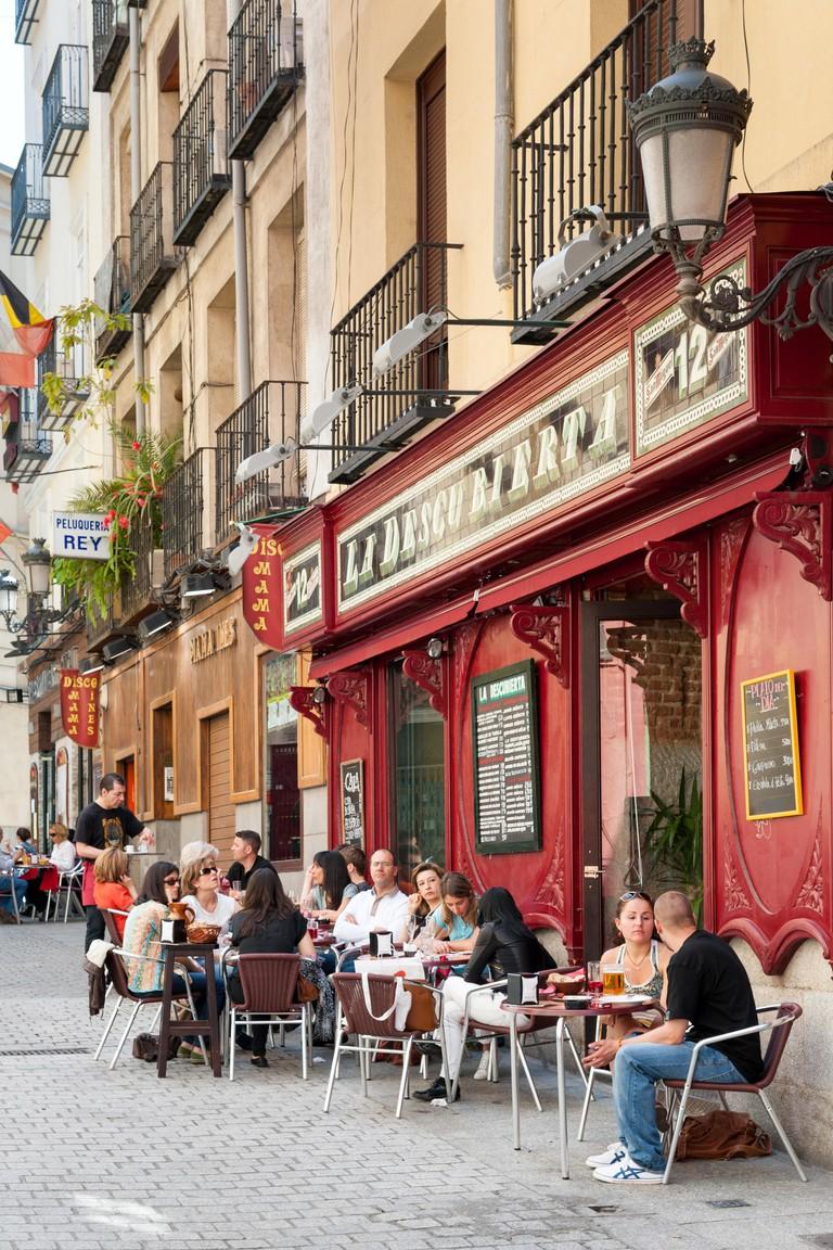 Bars on the Calle de Barcelona, Huertas, Madrid, Spain