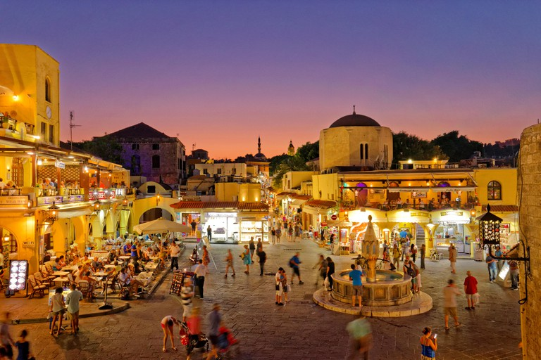 Twilight at Hippocrates (Ipokratous) Square, at Rhodes Old Town, Island of Rhodes, Dodecanese Islands, Greece.