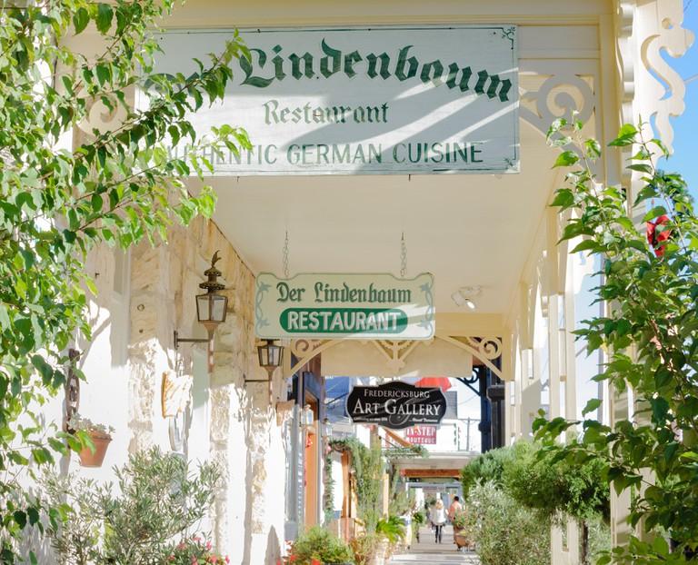 Shopping promenade in historic German settlement of Fredericksburg, Texas