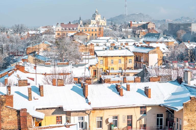 Lviv winter cityscape