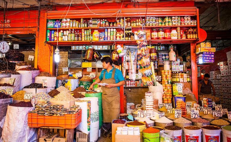 La Merced market, Food goods and Mole Sauces, Mexico City, Mexico