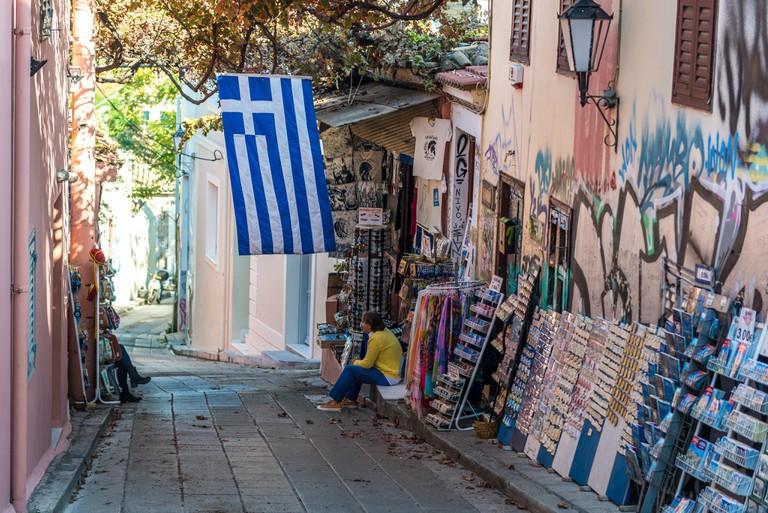 Souvenir shop in Plaka historical neighborhood in Athens city, Greece