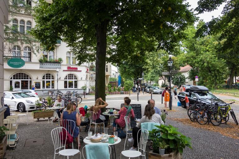 Outside Cafe & Deli in Neukolln, Berlin.