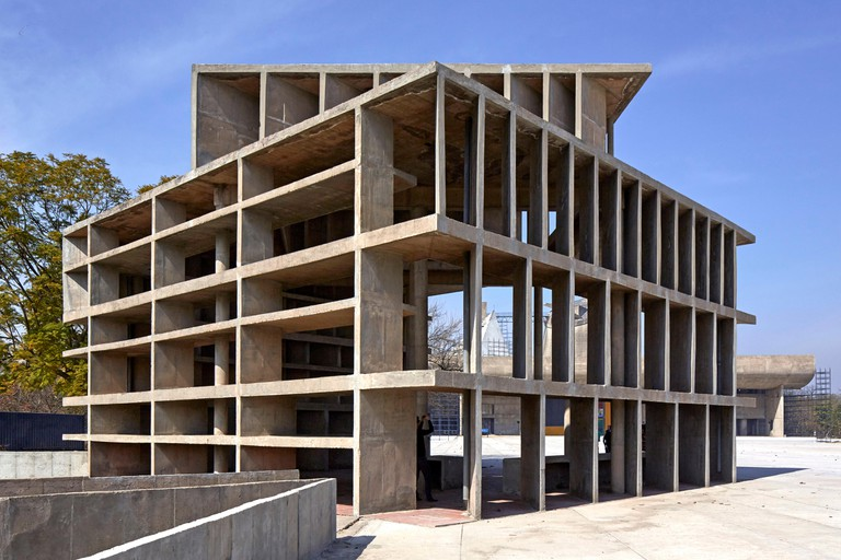 Tower of Winds structure. The Palace of Justice, Chandigarh, India. Architect: Corbusier, 1955.