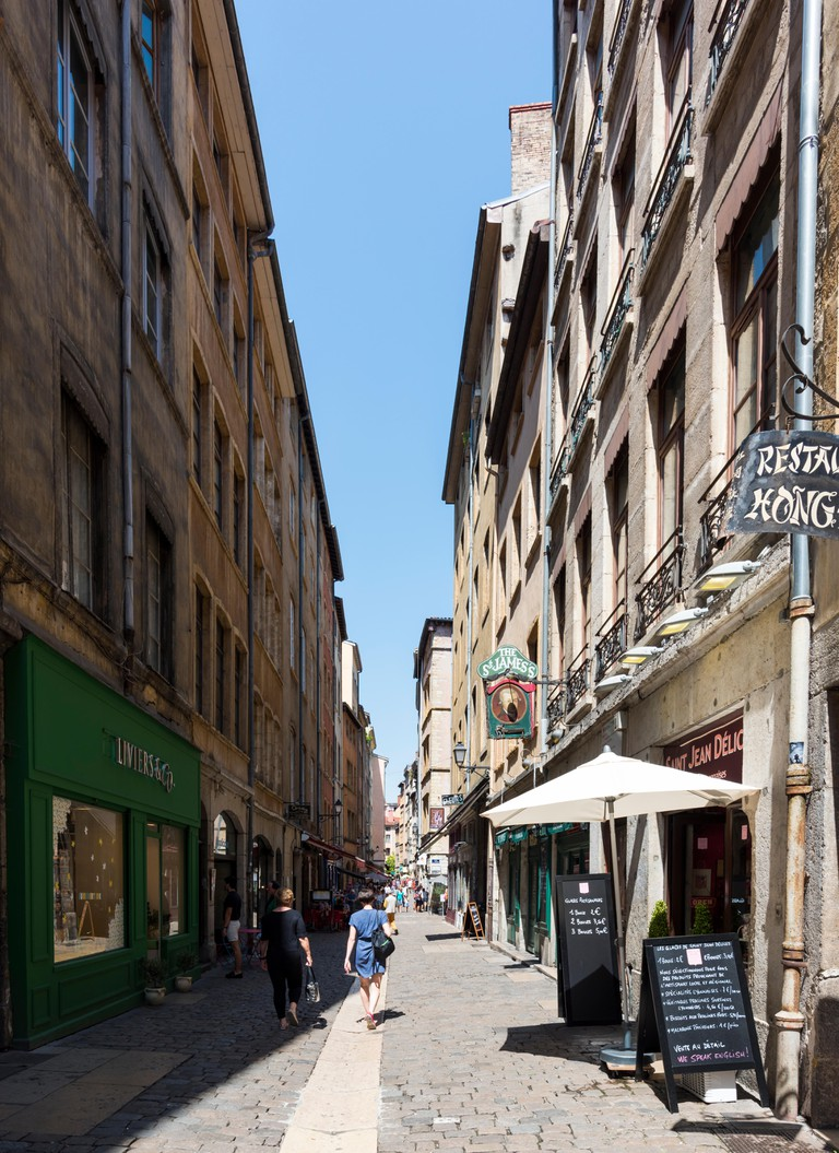 Street Saint Jean in Summer, Lyon, France