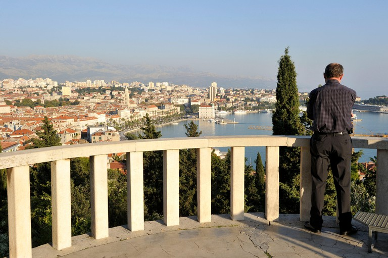Croatia, Dalmatian coast, Split, old Roman city listed as World Heritage by UNESCO, panorama from the Marjan hills