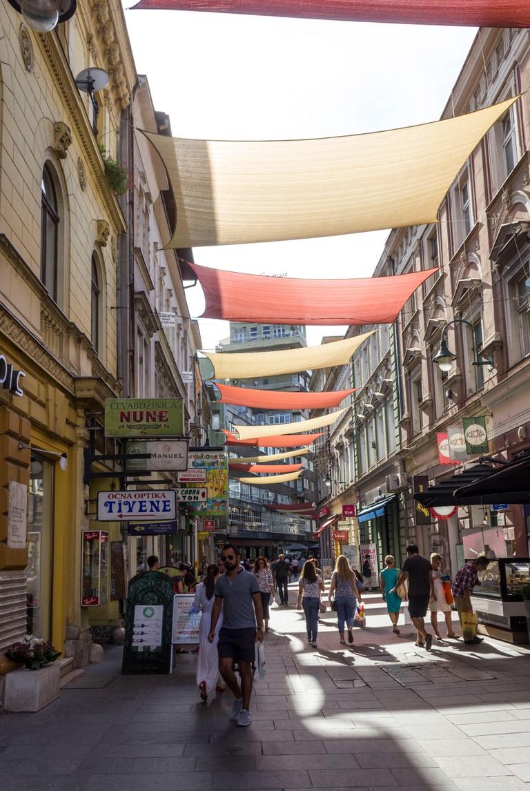 SARAJEVO, BOSNIA AND HERZEGOVINA - AUGUST 18 2017: Ferhadija pedestrian street in sarajevo city centre