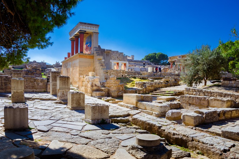 Old walls of Knossos palace near Heraklion, Crete, Greece
