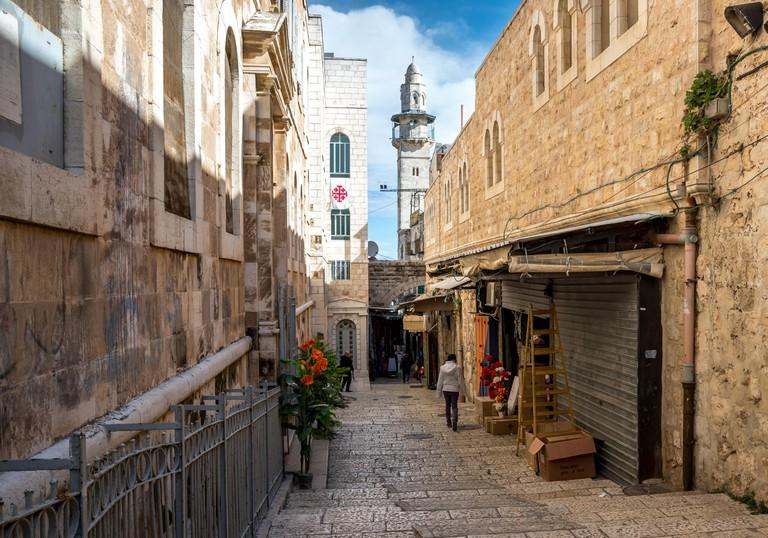 Narrow street situated in Armenian quarter, Jerusalem.
