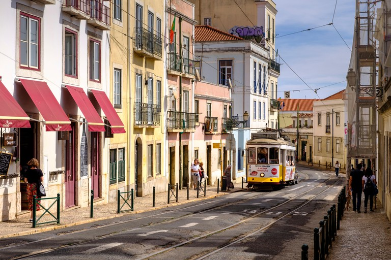 Streets of Alfama Neighborhood with Tramcar, Lisbon, Portugal.