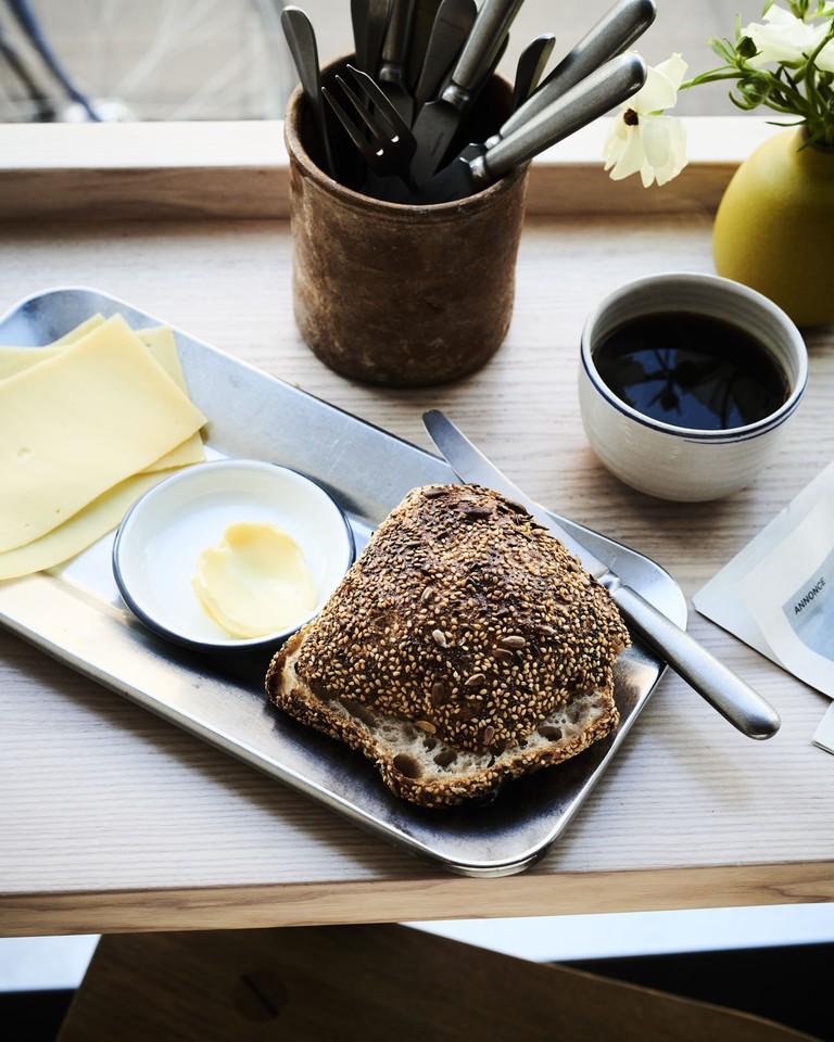 Morning bun, cheese & coffee, At the Counter