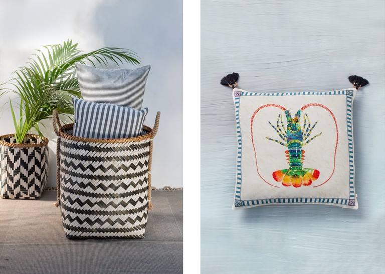 Left: Bamboo storage | Right: Lobster Cushion