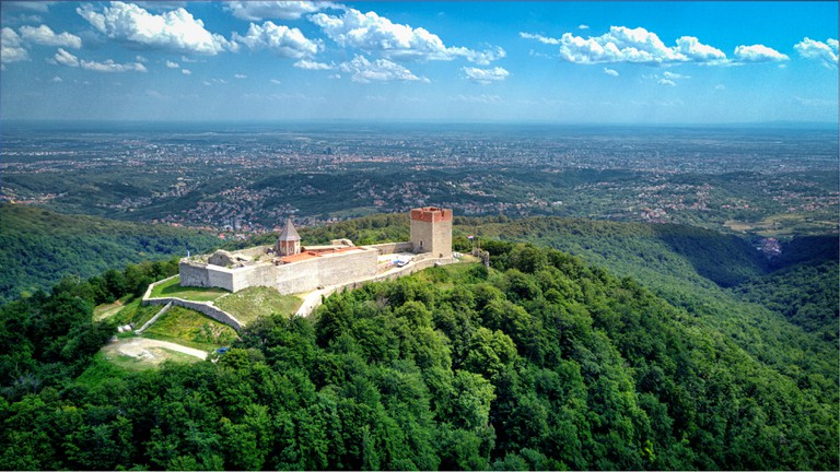 Drone shot at Sljeme - Mountain near capital of Croatia, Zagreb
