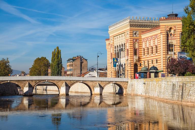 Bosnia and Herzegovina, Sarajevo, Bascarsija - The Old Quarter, Town Hall (Vijecnica)