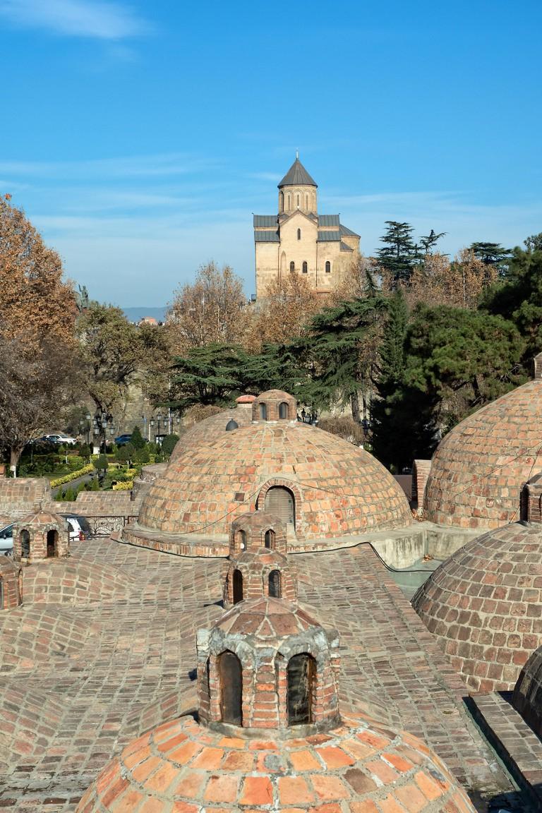 Domes of hot sulphur bath houses in Abanotubani district, Tbilisi, Georgia