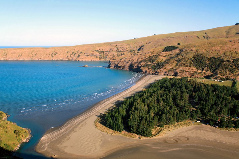 Scenic view of Okains Bay, Banks Peninsula, Canterbury, New Zealand