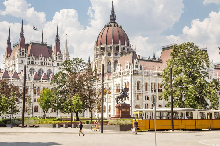 BUDAPEST, HUNGARY - JULY 23, 2015: Parliament building and Kossu