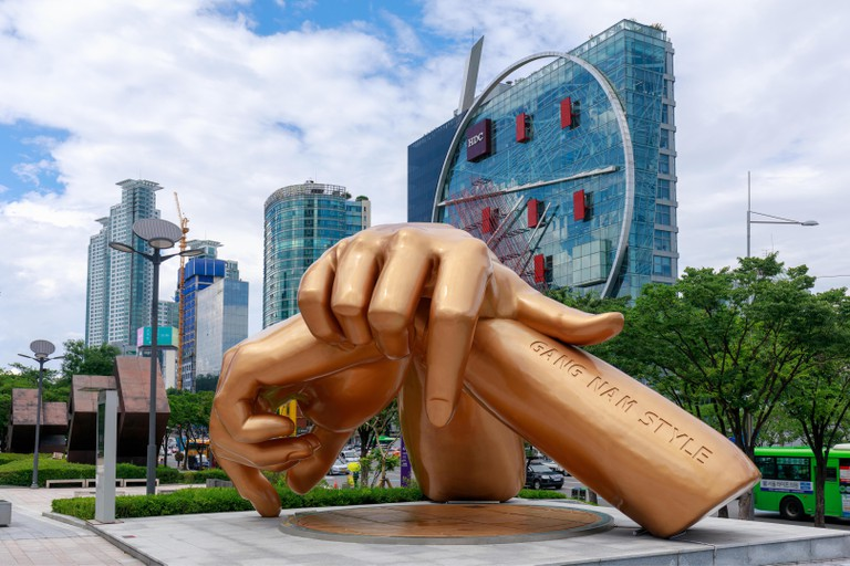 Seoul, South Korea - July 3, 2018 : Gangnam style statue in front of coex mall in the Gangnam District in Seoul city