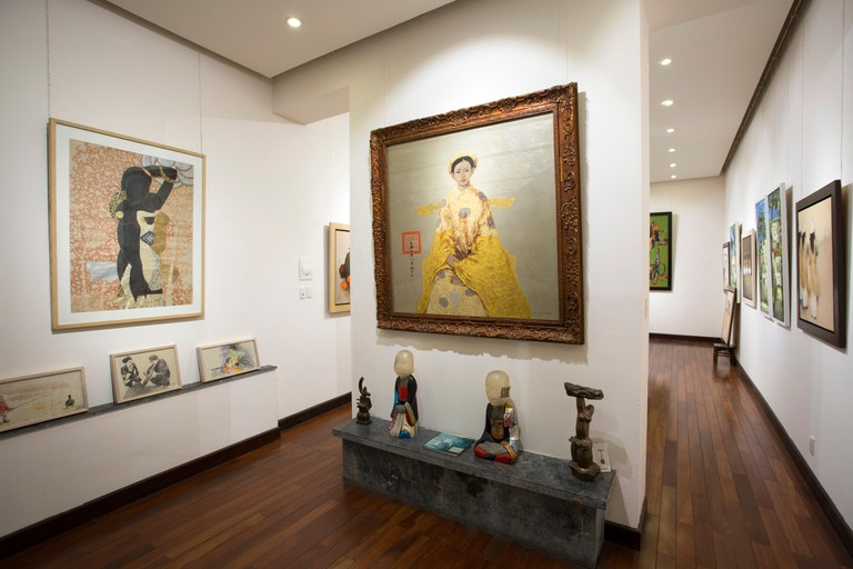 Interior of a trendy Gallery in the heart of the Old Quarter in Hanoi, Vietnam.
