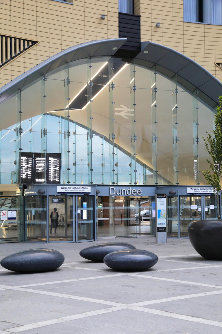 Dundee Railway station, the gateway to the city, with Sleeperz, a new design-led hotel directly above, in Scotland, UK