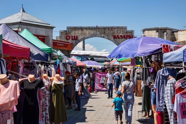 Shops in the famous Osh Bazaar in Bishkek, Kyrgyzstan