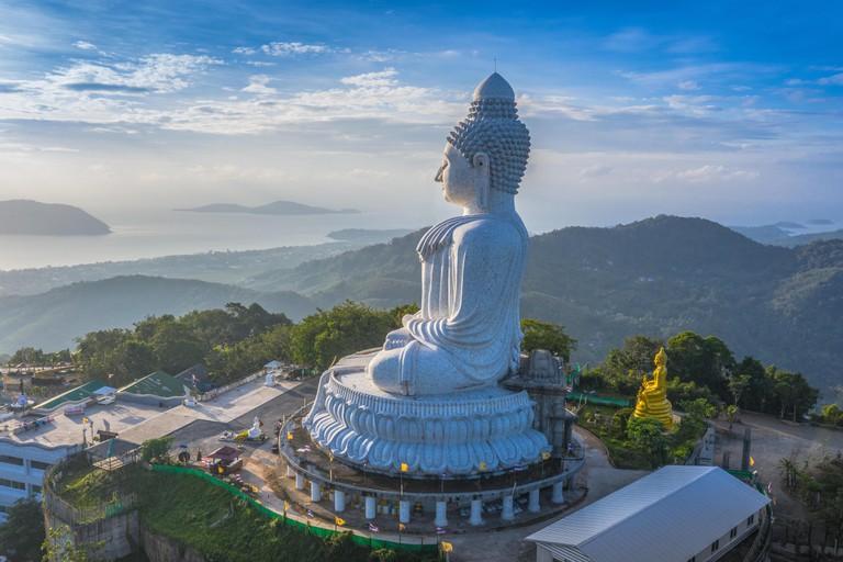 areial photography Phuket big Buddha in blue sky. Phuket Big Buddha is one of the Phuket island most important and revered landmarks on Phuket island