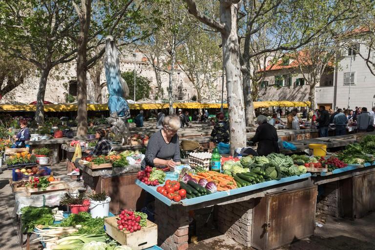 Croatia, Dalmatia, Dalmatian coast, Split, old Roman city listed as World Heritage by UNESCO, Stari Pazar, Green Market