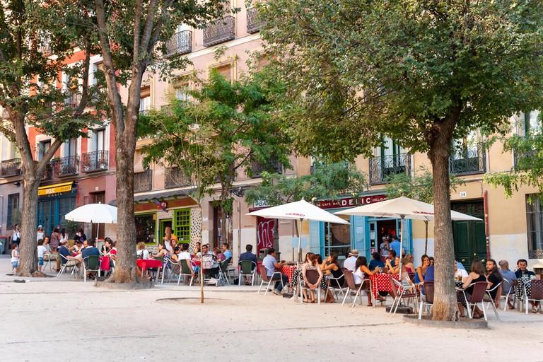 Bars in Plaza de la Paja, La Latina, Madrid, Spain
