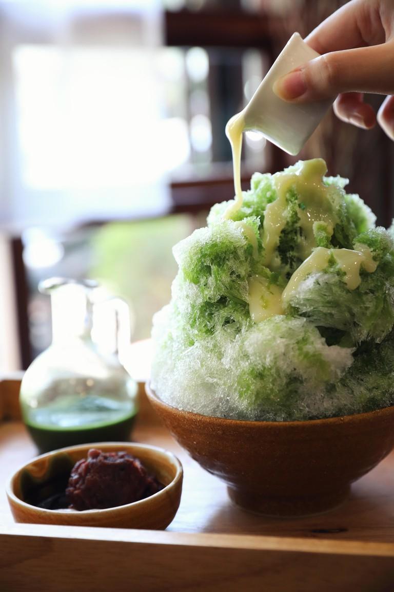 Japanese sweet shaved ice green tea