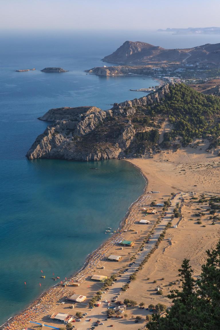 Tsambika beach - the most popular tourist destination in Rhodes Greece